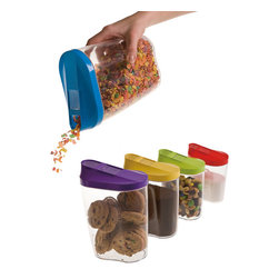 KitchenWorthy - KitchenWorthy 10-piece Serving/ Storage Container Set - Keep cereal, cookies, pasta, and other dry foods organized neatly and within easy reach with this set of acrylic kitchen storage containers. This 10-piece set comes in the most useful and popular sizes. Each container comes with a pour-top lid.