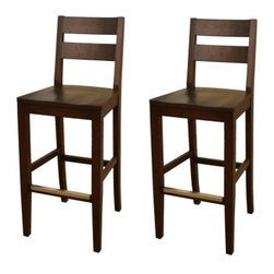 AHB Tyler Bar Stool - Set of 2 - With its sturdy wood style and handsome sierra finish, the Tyler Bar Stools - Set of 2, is a classic look for your home bar. It sits at bar height, is crafted of durable wood with a comfortable, curved seat. Includes two bar stools. Standard slatted back, solid wood seat with no cushion. Seat height: 30 inches, Dimensions: 19.25W x 17.5D x 45.25H inches. Please note: This item is not intended for commercial use. Warranty applies to residential use only.