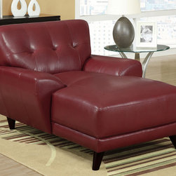 Red Bonded Leather/Match 880 Collection Chaise Lounger - To complete you room add this Red Bonded Leather/Match 880 Collection Chaise Lounger that easily becomes a perfect match with the chair, love seat and sofa. Chic and modern design creates an inviting feel with solid feet to provide sturdy support. Modern shape enhances the space with slightly angled lines and plush back and box seat cushions. Button tufted design and stitching enhances the look of this piece, while still offering you ample room.