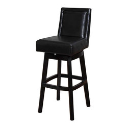 Armen Living - Armen Living Wayne 26 Inch Black Bicast Leather Swivel Barstool - Armen Living - Bar Stools - LC4048BABL26 - The incomparably chic look of the Wayne Swivel Barstool in black bicast leather is sure to elevate the design element in your home. Featuring a fully upholstered seat and back make a statement that epitomizes sophistication and self-expression in incomparable style.