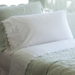 Taylor Linens - Frances King Sheet Set - Sweet dreams, indeed! These ever-so-fine yet unfussy sheets made of 100 percent cotton mill percale feature hand-crocheted lace in a zigzag pattern and lovely eyelet details. Oh, yes — you'll sleep in!