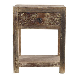 Kosas Collections - Hamshire 1-drawer End Table - Inspired by classic American furniture,this unique hand made distressed lime wash finished end table with a beautifully accented drawer pull is the perfect pair to any stylish bed. The table is composed of reclaimed Acacia wood.