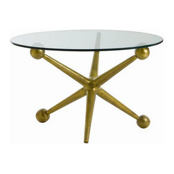 Arteriors Home - Arteriors Home Jack Cocktail Table - Arteriors Home 2419 - Arteriors Home 2419 - This playful oversized aluminum jack base cocktail table features an antique brass finish and a glass top.