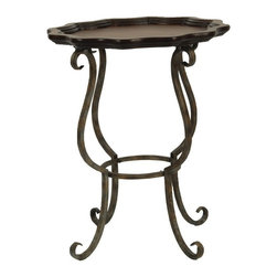 Safavieh - Safavieh Lorraine Scalloped Iron / Cherry Side Table X-A1004HMA - Complete your living room, bedroom or family room with the Lorraine table crafted to be equally at home in traditional or rustic interiors. Graceful iron legs support a scalloped round table top of birch wood with a lip to add interest and definition. Min