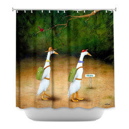 DiaNoche Designs - Shower Curtain Artistic Backquackers - DiaNoche Designs works with artists from around the world to bring unique, artistic products to decorate all aspects of your home.  Our designer Shower Curtains will be the talk of every guest to visit your bathroom!  Our Shower Curtains have Sewn reinforced holes for curtain rings, Shower Curtain Rings Not Included.  Dye Sublimation printing adheres the ink to the material for long life and durability. Machine Wash upon arrival for maximum softness on cold and dry low.  Printed in USA.