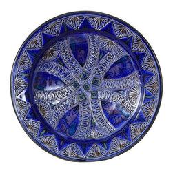 "Ceramic (Wood-fired) - Cobalt Carved Decorative Plate, 14"" - Cobalt Carved 14"" Decorative Plate"