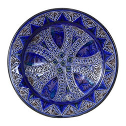 "Ceramic (Wood-fired) - Cobalt Carved Decorative Plate, 14"" - Cobalt Carved 14"" Decorative Plate"