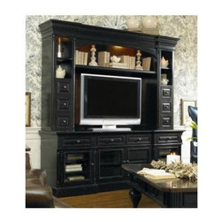 Hooker Furniture - New Castle II 86 in. Entertainment Console - Optional hutch. Two outside doors with wood/beveled glass. Two adjustable shelves behind each. Two center doors with wood/beveled glass option have one adjustable shelf behind each. Four drawers. One three plug outlet. Takes most 73 in. monitor when used alone. Takes most 55 in. monitor when used with hutch. Made from hardwood solids, birch and cherry veneers. Rich black rubbed finish. Center door opening: 20.18 in. L x 18.43 in. W x 17.75 in. H. Inside drawer: 16.06 in. L x 16.31 in. W x 4.75 in. H. Side door opening: 19.06 in. L x 18.43 in. W x 17.75 in. H. Console: 86 in. W x 22.25 in. D x 32 in. H. Hutch: 87.5 in. W x 16 in. D x 55 in. H. Assembly Instruction