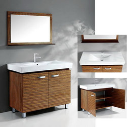 None - Ceramic Basin-Top Single-Sink Bathroom Vanity with Matching Wall Mirror - This pretty bathroom vanity includes a smooth ceramic top and sturdy bottom made from solid oak. Open the cabinets to discover a shelf that's ideally sized to store your bathroom essentials. There's also a smaller shelf attached to the included mirror.