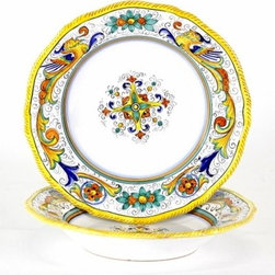 Artistica - Hand Made in Italy - Raffaellesco: Pasta/Soup Bowl - Raffaellesco Collection: Among the most popular and enduring Italian majolica patterns, the classic Raffaellesco traces its origin to 16th century, and the graceful arabesques of Raphael's famous frescoes.