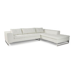 "Moe's Home Collection - Sulla Sectional Right White - Contemporary / Modern sofa sectional. Polyurethane, polished stainless steel, solid wood. Dimensions: 113""W x 38""D x 25""H. Chaise length - 88.6""."