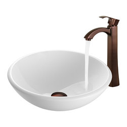 Vigo - VGT200 White Vessel Sink with Oil Rubbed Bronze Faucet - The VIGO White Phoenix Stone Glass Vessel Sink with stylish Oil Rubbed Bronze Faucet will bring a traditional look to your bathroom.