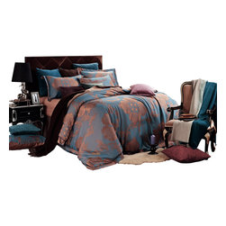 Dolce Mela - 6 Piece Damask Jacquard Duvet Cover Set, Luxury Bedding by Dolce Mela - Freya, Q - Bring the utmost amiable accent to your bedroom with this luxury linen duvet cover set featuring light slate-blue jacquard damask patterns on a shimmering golden background to create a trendy and elegant decor.   These bedding sets and their unique gift packaging make a great choice for housewarming or bridal shower gift.