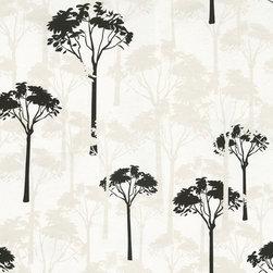 Wallpaper Worldwide - Athena - Trees Wallpaper, Black, White - Material: Non-woven.