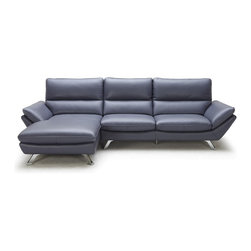Zuri Furniture - Blue Taj Leather Sectional Sofa - Left Chaise - Bold in style and in color, Taj is the perfect stand out piece. It's unique legs and design will work perfect in any modern space. Total length of long side - 110 inches Total length of chaise - 65 inches Seat height - 16 inches
