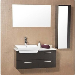 Fresca - Fresca Caro Espresso Modern Bathroom Vanity with Mirrored Side Cabinet - This solid wood ensemble is contemporary and chic in design. This vanity offers a touch of sophistication of white counter top contrasted and a white basin against a dark Espresso finish. Comes with a mirror and an additional storage cabinet. Ideal for anyone looking for a simple yet elegant look. Many faucet styles to choose from. Features Materials: Solid Oak Wood, Ceramic Sink with Overflow Soft Closing Drawers Single Hole Faucet Mount (Faucet Shown In Picture May No Longer Be Available So Please Check Compatible Faucet List) P-trap, Faucet, Pop-Up Drain and Installation Hardware Included How to handle your counter Installation GuideView Spec Sheet