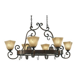 Golden Lighting - Meridian 8-Light Hanging Pot Rack Chandelier - Includes dual chain canopy with all dual-chain hanging fixtures. Bulbs not included. Traditional style. Requires six 60 watt and two 50 watt R20 medium incandescent Type A bulb. Three way switch. Elegant flat scrolling arms for a unique, handcrafted feel. Square shaped antique marbled glass shade. Brown wire gage. Eight E27 type porcelain sockets in white. Electric wire gage: SPT-1 20288 18# 105 degree C. Maximum wattage: 60W and two 50W. Total wattage: 580W. UL and CUL certified. UL listed for dry location. Made from metal and glass. Golden bronze color. Chain length: 2 x 10 ft.. Wire length: 12 ft.. Fixture extension: 26.5 to 28.5 in.. Backplate extension: 2 in.. Backplate: 15.5 in. W x 6 in. H. Glass: 6.5 in. W x 5 in. H. Overall: 39.5 - 42 in. W x 22.5 in. H (34.17 lbs.). Assembly Instructions. Warranty