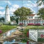 The Tile Mural Store (USA) - Tile Mural - Ocracoke Lighthouse - Kitchen Backsplash Ideas - This beautiful artwork by William Mangum has been digitally reproduced for tiles and depicts the lighthouse at Cape Hatteras in North Carolina.  Our lighthouse tile murals and nautical themed decorative tiles are perfect as part of your kitchen backsplash tile project or your tub and shower surround bathroom tile project. Lighthouse images on tiles add a unique element to your tiling project and are a great kitchen backsplash idea. Use a lighthouse scene tile mural for a wall tile project in any room in your home where you want to add interest to a plain field of wall tile.