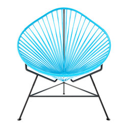 Acapulco Chair, Blue Weave On Black Frame - The Acapulco Chair - contemporary lounge or occasional chair suitable for indoors and out.  Composed of a tripod metal base and seat woven with vinyl cord. The Acapulco chair is similar in construction and form to our Innit chair though slightly more reclined with a pear shaped frame.  The galvanized steel is rust resistant and the very durable yet flexible, UV protected vinyl will stay colorfast for years.  This chair is incredibly comfortable without a cushion.  Its weatherproof, breathable, easy to clean, and available in everybodys favorite color. *Please refer to swatch image for accurate product color variations.