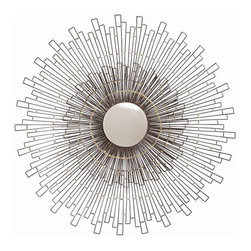 Arteriors Home - Arteriors Home Zuma Iron/Brass Convex Mirror - Arteriors Home 6770 - Round convex wall mirror with natural iron geometric rays joined with antiqued brass rings.