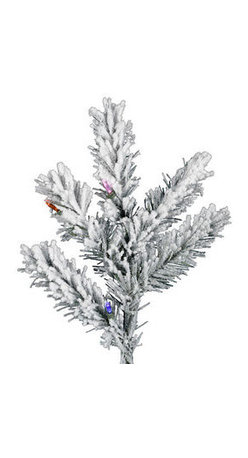 9.5 ft. x 72 in. Flocked Aspen Multi-Colored Lights Artifical Chrstimas Trees - 9.5 ft. x 72 in. Artificial Christmas Tree