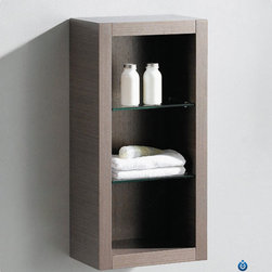 Fresca - Fresca Bathroom Linen Side Cabinet w/ 2 Glass Shelves - This attractive hanging side cabinet comes in a Gray Oak finish. It features 2 glass shelves with 3 open areas.