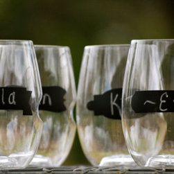 Personalized Shatterproof 16-Ounce Stemless Wineglass by Aly Garrett Designs - Shatter-proof glassware is perfect for the patio, and with that banner to label your drink, you'll never lose track of your glass again.
