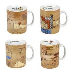 Konitz - Set of 4 Assorted Mugs of Knowledge - Physics, Math, Chemistry & History - The K�nitz Mugs of Knowledge compile key facts from your favorite school subjects. This scholarly mug set includes all of your favorites: Physics, Math, Chemistry and History. A popular educational gift for students, graduates, teachers, or that special nerd in your life.