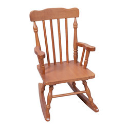 Gift Mark - Gift Mark Home Kids Children Resting Spindle Rocking Chair Honey - The Gift mark Hand Crafted Colonial Rocking Chair is Designed for Beauty and Durability. Each Spindle is Hand carved, with Great Detail. Each Spindle Rocking Chair is Crafted from Solid Wood. This Rocking Chair is built to Last, and will be part of your Family for Generations. Easy to Assemble. Includes All Tools For Assembly.