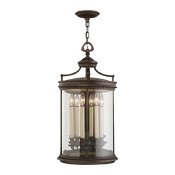 Fine Art Lamps - Louvre Outdoor Lantern, 538182ST - Guests will always feel welcome when they spy this lantern hanging outside your door. Finished in dark bronze and fitted with clear handblown glass, this elegant outdoor fixture features six electrified candles — enough to light up even the darkest of nights.
