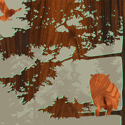 jefdesigns - Forest Critters Print — Bird 1 - A wood-grain owl gets ready to meet his mate amidst deeper-toned forest branches in this outdoorsy print you'll want hanging in your home or weekend retreat. The image is a creation of Joe Futschik, and this-six by-six print is mounted and ready to hang. It colors are enhanced and protected by a UV gloss coating.