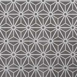 Walls Republic - Grey Geometric Wallpaper R2245 - Geometric is a bold�geometric optical illusion print�overlaid on a�faux wood�backdrop. Comprised of basic cubed, circular, and triangular forms entanglement will play with your sight and create an engaging backdrop.