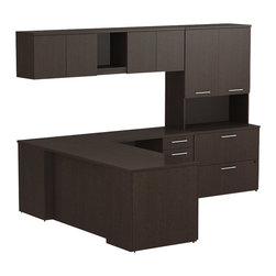 "Bush - Bush 300 Series 60"" L-Shape Desk Set with Storage in Mocha Cherry - Bush - office Sets - 300S013MR - Transitional classic styling fits ideally in any residential commercial or office environment with the BBF Mocha Cherry 300 Series 60""W L-Station Desk with Wall Mount Overhead Tall Overhead Storage with Doors Lateral File and Pedestal. Smaller top surfaces fit in tight workspaces. Two box drawers and one file drawer in the pedestal store files or office supplies. Wall Mount Overhead has open center face flanked by two-door enclosed storage. Tall Overhead offers two-door concealed storage to keep books or documents out of sight. Lateral File features two drawers on fully extendable drawer slides for easy access to back. All file drawers accommodate letter- legal or A4-size files. Wire grommets control unsightly cords and cables keeping desk and return surfaces clutter-free. Return complements the desk and offers additional storage in pedestal. Rich Mocha Cherry finish fits beautifully in executive spaces. Tough rugged work surfaces resist scratching stains dings and dents looking good for years. Includes BBF Limited Lifetime warranty."
