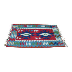 """Turkish Wool Area Fireplace Rug - Turkish wool area rugs add warmth and color when placed near a cozy fireplace. Turkish kilim style carpet is made of 100% handspun wool dyed in rich, vibrant colors.  Flatweave wool carpet is approximately 30-1/2""""x 40""""; Made in Turkey."""