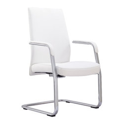 Whiteline Imports - Whiteline Columbia White Leatherette Office Chair Visitor - Whiteline Columbia White Leatherette Office Chair Visitor