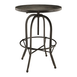 Sylvan Wood Top Bar Table - Capture the authenticity industrial modern with the Sylvan bar table. Sylvan is topped with a richly grained solid pine wood top set snugly in a cast iron rim and frame. Fashioned with stylish tapered legs and foot ring, Sylvan blends rustic cabin and factory elements in this one-of-a-kind bar table.