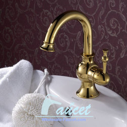 Luxury Single Handle Bathroom Faucet In Polished Brass DL-4806H - Features: