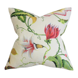 """The Pillow Collection - Fayola Floral Pillow Pink 18"""" x 18"""" - Lend a garden-inspired theme to your bedroom or living room with this romantic decor pillow. This accent piece features a blossoming floral pattern on a white fabric. A variety of colors adorn this decor pillow, including, green, pink, yellow and purple. More than just an accessory, this plush toss pillow brings extra comfort. Constructed from a blend of 55% cotton and 45% linen fabric. Hidden zipper closure for easy cover removal.  Knife edge finish on all four sides.  Reversible pillow with the same fabric on the back side.  Spot cleaning suggested."""