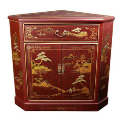"""Oriental Furniture - Japanese Corner Cabinet - Red Landscape - Hand-crafted by artisans in the Guangdong province of mainland China, the Japanese Corner Cabinet boasts two doors and a drawer. Finely detailed and lacquered, it features a delicately hand-painted Japanese landscape. The doors are equipped with lacquered brass hardware and open to reveal one removable shelf. The two short dimensions are 5.50"""". The front is 26.50"""" across and the two back dimensions are 24.00"""" wide."""