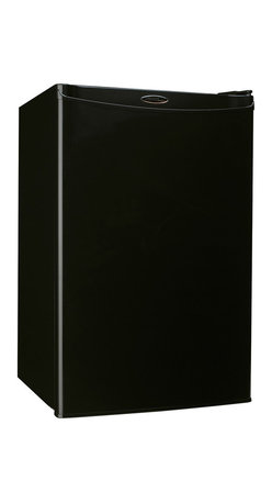 Danby - 4.3 CuFt. Refrig,Push Button Defrost,Separate Freezer Section - Danby's DCR122BSLDD Energy Star 4.3 Cu. Ft. Designer Compact Refrigerator/Freezer, in black, is a counter-high fridge that offers additional refrigeration in a compact space. With a freezer section, 2 full and 1 half selves and tall bottle space, there is a spot for virtually anything. The easy to use features such as, CanStor beverage dispenser, mechanical thermostat, and manual push button defrost are able to store your items at the perfect temperature. Energy Star rated, this compact refrigerator/freezer provides savings while offering large capacity, compact cold storage space.Energy Star compact refrigerator/freezer with 4.3 cu.ft. total capacity|Reversible door hinge for right or left hand opening|Freezer section with 0.4 cu. ft. capacity|Manual (push button) defrost|CanStor beverage dispenser holds 8 beverage cans|2 full shelves and 1 half shelf for maximum storage versatility|Tall bottle storage|Removable egg tray fits on door shelf|Integrated door handle|Smooth back design for a flush fit against walls|  danby| dcr122bldd| dcr122| 4.3cf| 4.3| cf| cubic| feet| cu.| ft.| cu| ft|  designer| compact| refrigerator| freezer| refrigerator/freezer| chiller| en  Package Contents: compact refrigerator/freezer|egg tray|manual|warranty  This item cannot be shipped to APO/FPO addresses