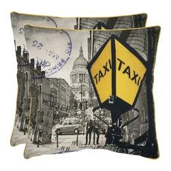 Safavieh - Belgrade Accent Pillow  - 20x20 - Yellow,Gray - Belgrade Accent Pillow  - 20x20 - Yellow,Gray
