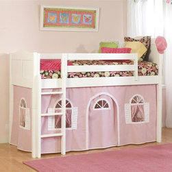 Bolton Furniture - Cottage Low Twin Loft Bed w Pink-White Bottom Curtain in White Finish - Includes twin headboard & footboard, birch side rail set, low loft kit and Pink & White bottom curtains in front and two ends. Beds come complete with slat roll (no additional support necessary). Solid frame construction built to last. Bed assembly features barrel nut & bolt (metal to metal connections). Made of solid wood & veneers. Twin size bed. White finish. Assembly required. 1-Year warranty. 42 in. W x 79 in. D x 65 in. H. Low Loft Assembly Instructions. Curtains Assembly Instructions. Bunk Bed Warning. Please read before purchase.. NOTE: ivgStores DOES NOT offer assembly on loft beds or bunk beds.