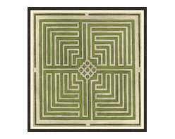 Soicher-Marin - Large Garden Plan D, Green - Giclee Print with a Black Ornate wooden frame with decorative line pattern floated on an off white mat.  Includes glass, eyes and wire. Made in the USA. Wipe down with damp cloth