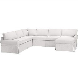 """PB Basic Left 4-Piece Chaise Sectional Slipcover, Textured Basketweave Ivory - Designed exclusively for our PB Basic Sectional, these easy-care slipcovers have a casual drape, retain their smooth fit, and remove easily for cleaning. Select """"Living Room"""" in our {{link path='http://potterybarn.icovia.com/icovia.aspx' class='popup' width='900' height='700'}}Room Planner{{/link}} to select a configuration that's ideal for your space. This item can also be customized with your choice of over {{link path='pages/popups/fab_leather_popup.html' class='popup' width='720' height='800'}}80 custom fabrics and colors{{/link}}. For details and pricing on custom fabrics, please call us at 1.800.840.3658 or click Live Help. All slipcover fabrics are hand selected for softness, quality and durability. {{link path='pages/popups/sectionalsheet.html' class='popup' width='720' height='800'}}Left-arm or right-arm configuration{{/link}} is determined by the location of the arm on the love seat as you face the piece. This is a special-order item and ships directly from the manufacturer. To view our order and return policy, click on the Shipping Info tab above."""