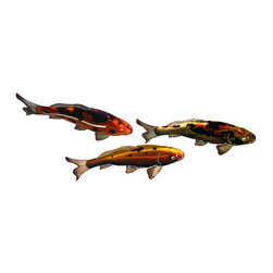 Next Innovations Ltd - Koi Fish Indoor / Outdoor Light Reflective Wall Art - Set of 3 Multicolor - WA3D - Shop for Wall Art from Hayneedle.com! Create a relaxing atmosphere with the stunning look of the Koi Fish Indoor / Outdoor Light Reflective Wall Art - Set of 3. Constructed of quality steel each RefraXion laser cut piece is powder coated for rust resistance and are durable enough for indoor or outdoor use. Its vibrant colors come from the new Infusion process which features light reflections with dimension giving it a unique effect. No two pieces are the same. About Next Innovations Next Innovations is based in Walker Minnesota and has been creating high quality lawn and garden accessories gifts and home decor for ten years. All their products are dreamed up by their in-house design team then engineered on-site and produced in their facility located in the beautiful north woods of Minnesota. Next Innovations specializes in decorative metal for indoor and outdoor use. Their patio deck garden and home products are primarily made of 18-gauge cold rolled steel that is acid washed and powder coated to resist rust. Color is applied through an infusion process so it won t face or flake! The 3-D lines incorporate light reflections with dimension created from a hand-grinding process that creates an experience designed to impress and endure. Next Innovations is a name to trust in high quality garden and home decor.