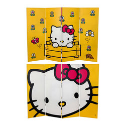 Oriental Furniture - 4 ft. Tall Double Sided Hello Kitty Yellow Canvas Room Divider - Four panel folding screen, four feet tall, with high quality digital print reproductions of Hello Kitty graphic art images, front and back. Limited edition design perfect for floor or wall display, provides a lively decorative accent attractive to children and adults, in home or office interiors.
