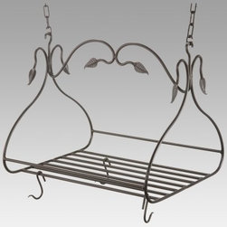 Gourmet Pot Rack with 8 Canterbury Hooks - Large - Short on cabinet space? It's a problem many of us experience especially in older homes and apartments. Free up some space by using our Gourmet Pot Rack with Eight Canterbury Hooks to hang your pots and pans. It's an attractive addition to any kitchen and the large center grid can double as a shelf giving you even more storage options. Crafted from hand-forged iron it has a scrolling leaf pattern and a natural black finish that will blend in beautifully with any kitchen decor. The eight Canterbury hooks are loose allowing you to place them in any configuration and you can purchase additional 1-foot sections of chain to accommodate high ceilings. Made in the USA. Dimensions: 36L x 19W x 18H inches. Weighs 26 pounds.About Stone County Ironworks.Stone County Ironworks creates heirloom hand-forged iron furniture. The company's blacksmiths use artistic ability and traditional tools like the hammer anvil and forge to create unique works of art naturally. For 30 years Stone County Ironworks has worked with designers and dreamers all over the country - sometimes forging through a completed drawing provided by a client and sometimes working only with an idea to discover and create just the right design. The company's quality workmanship that reflects the skill of the blacksmith continues to set it apart from other manufacturers.