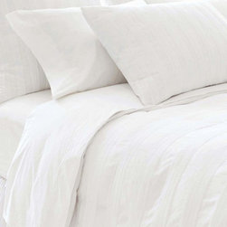 Mod Pintuck Duvet Cover - Neat, cheerful, and pretty with tailoring details that show up attractively in a pure white cotton fabric, the Mod Pintuck White Duvet Cover brings a just-so air of loveliness to a transitional bedroom.  Wonderful in combination with other fashion-inspired dressmaker accents, the cotton duvet is structured with bands of pleating and a knife edge, effortlessly creating an appealing simplicity.