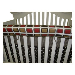 Cotton Tale Designs - Houndstooth Front Cover Up - A quality baby bedding set is essential in making your nursery warm and inviting. All Cotton Tale and N. Selby patterns are made using quality materials and are uniquely designed to create your perfect nursery. The Houndstooth front cover up is both function and design. What a great idea, this front rail cover up protects your foot board on the convertible cribs and it looks great. For the parent choosing not to use a bumper, it can add the needed decor lost when the bumper is removed. Cover ups can be used with a full bumper as well. All Cotton Tale and N. Selby patterns have matching crib rails cover ups. Wash gentle cycle, separate, cold water. Tumble dry low or hang dry. This a neutral collection, perfect for a boy or a girl.