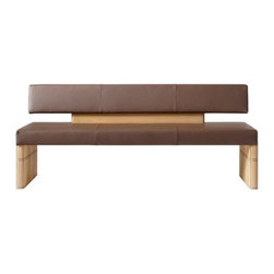Voglauer - Voglauer | V Soft Upholstered Bench - The V-Soft line emanates elegance and well being in every living space with the softly rounded solid wood components. Natural qualities are also combined with contemporary shapes that give cubic shapes a soft easiness. The V Soft Upholstered Bench is a thing of beauty, boasting a sleek, leather upholstered seat and backrest that runs the entire lenth of the bench. Substantial yet soft, this dining bench brings comfort and versatility to many modern dining spaces.